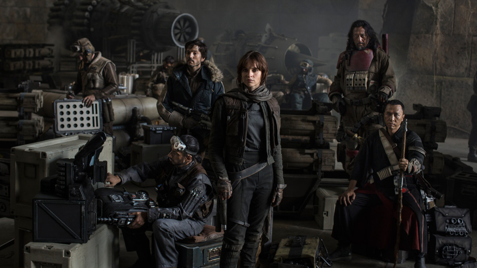 Left to Right: Actors Riz Ahmed, Diego Luna, Felicity Jones, Jiang Wen and Donnie Yen. Photo Credit: Jonathan Olley ©Lucasfilm 2016