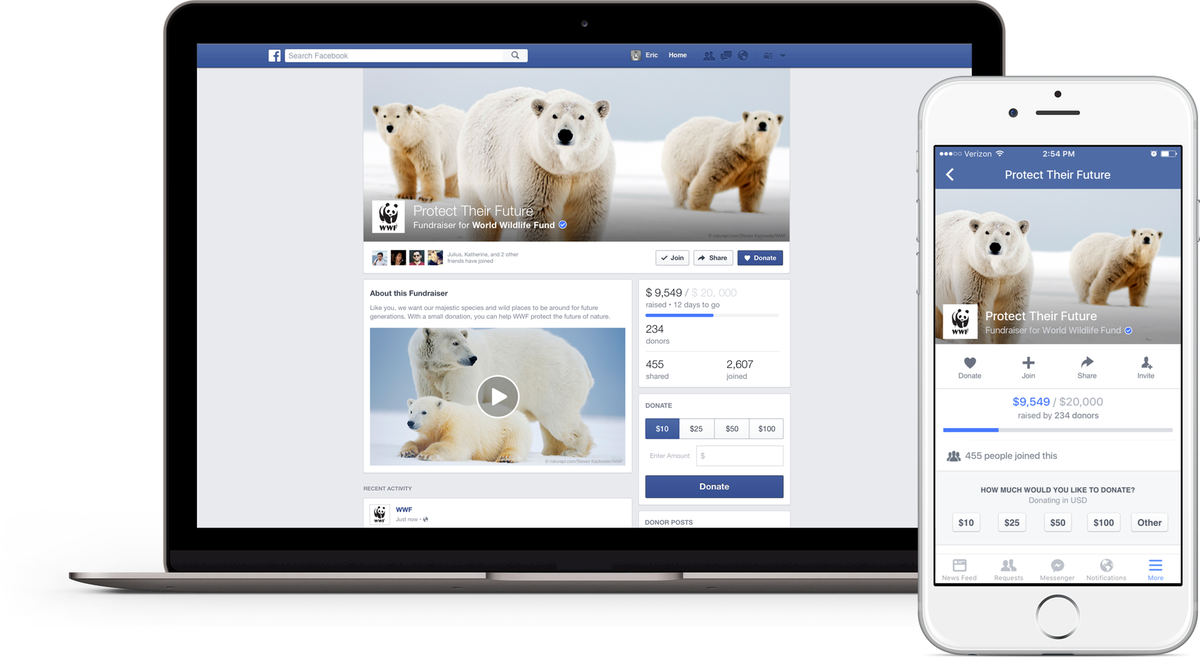 Facebook Launches Fundraiser Pages For Nonprofits