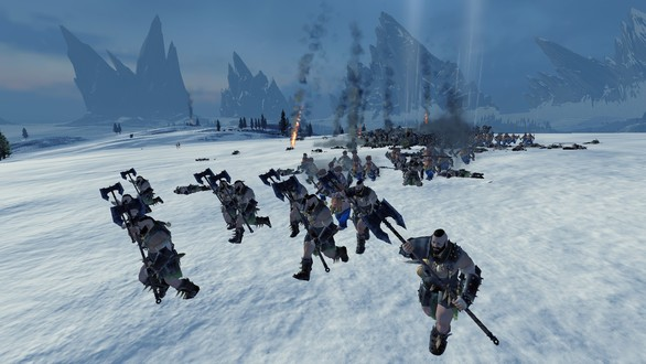 Varg warriors bravely fleeing from a much more powerful dwarf force.