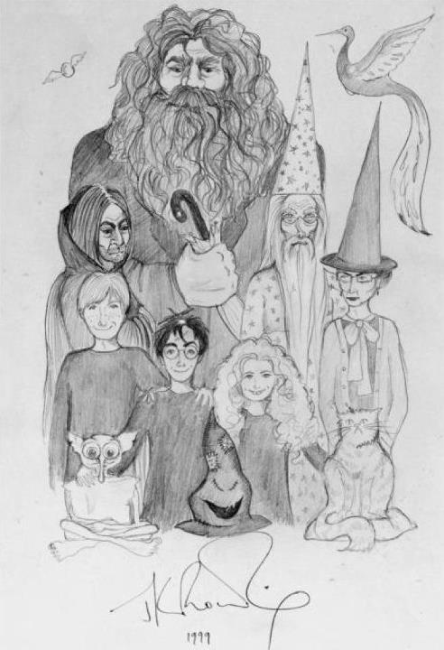 JK Rowling's drawing of her characters