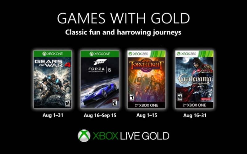 Xbox's August Games With Gold Announced