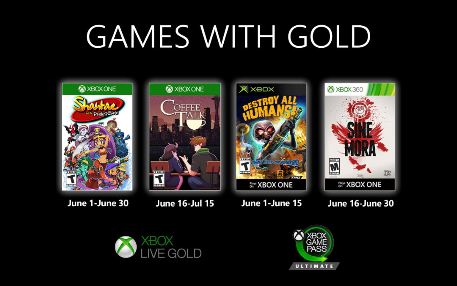 Xbox'x Games With Gold For June 2020