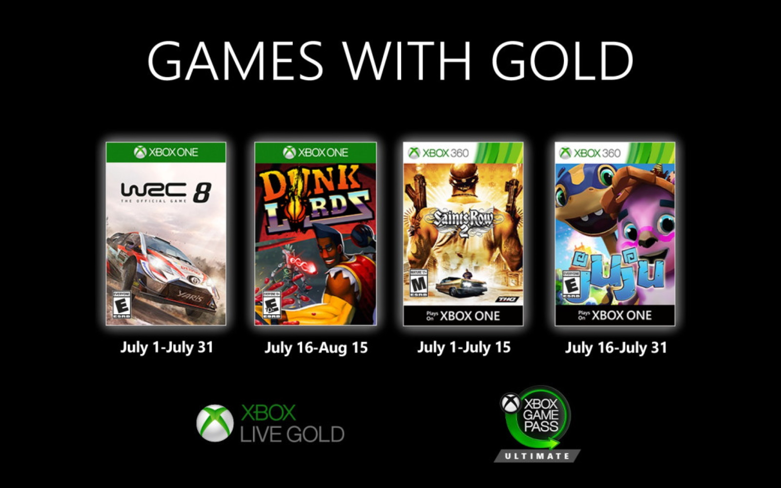 Xbox Games With Gold For July