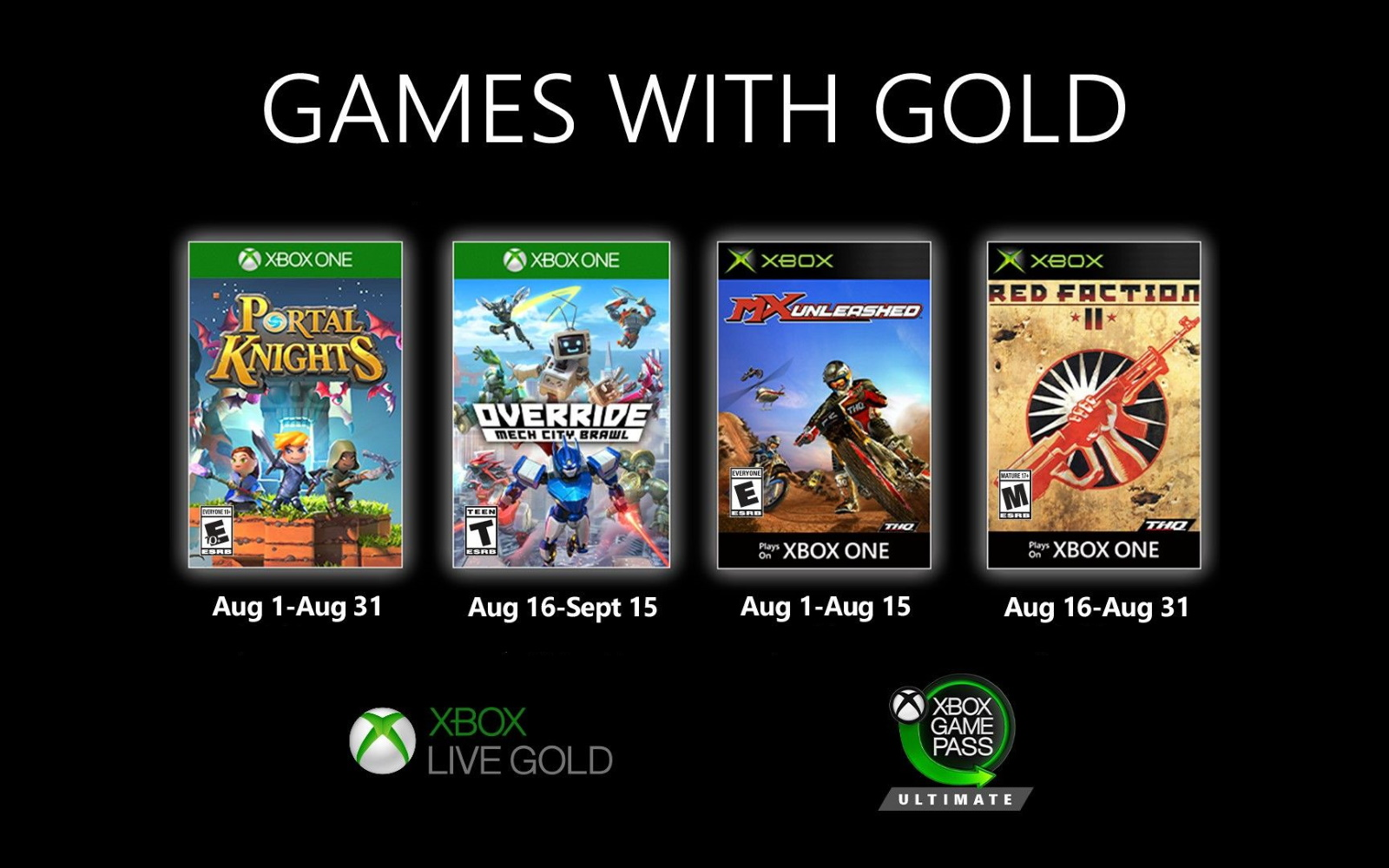 Xbox Games With Gold For August Are Available