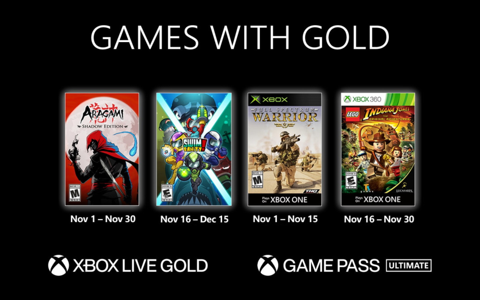 November's Xbox Games With Gold Now Available