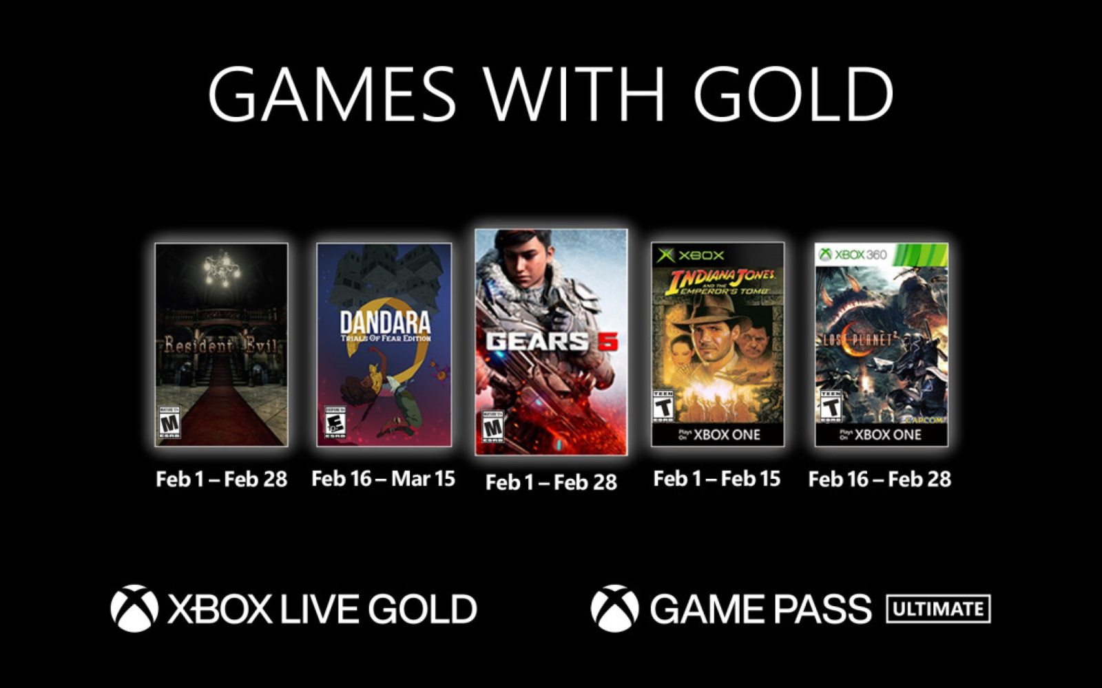Xbox Announce February's Games With Gold And Free-To-Play Games Update