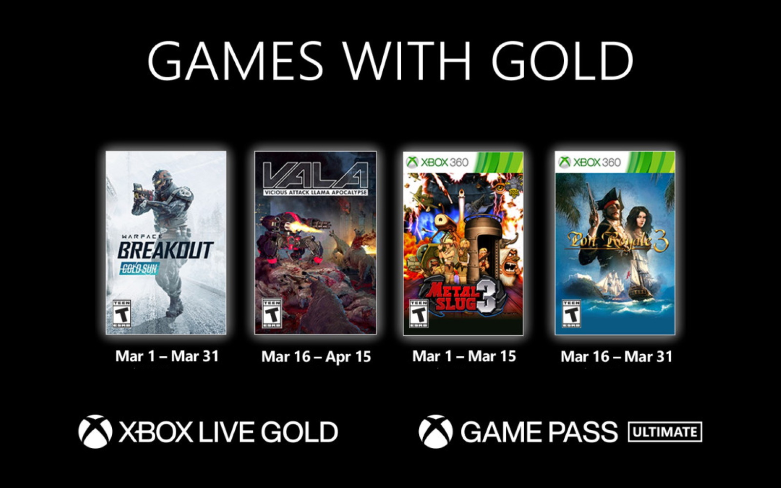 Games With Gold Titles Available In March
